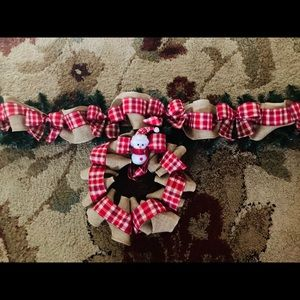 Other - 8ft pre lit holiday garland and matching wreath